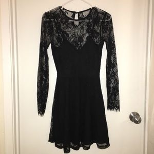 Black lacy mini dress